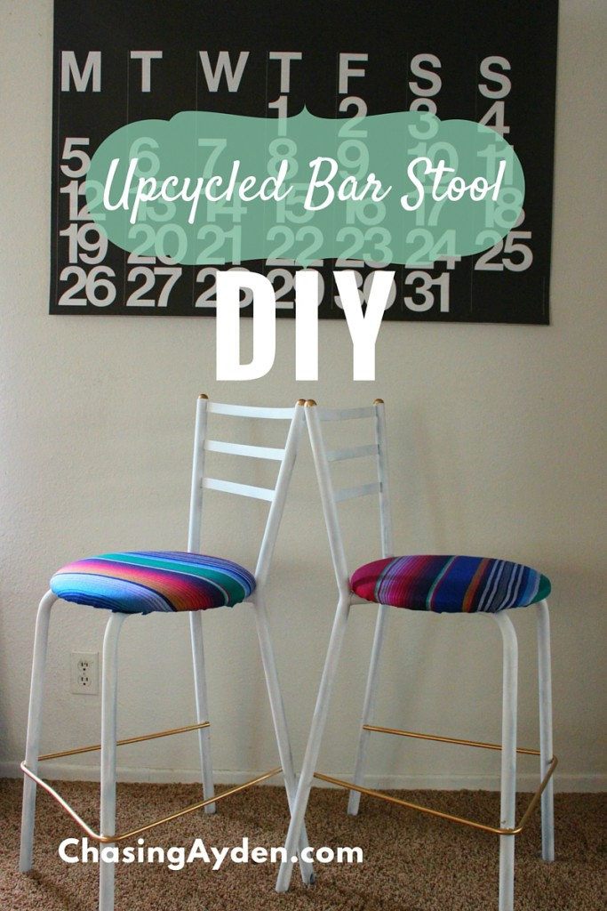 Bar stool Upcycle DIY    Learn how to convert an old chair or stool in to a beautiful piece of modern furniture via https://chasingmcallisters.com/upcycled-barstool-diy
