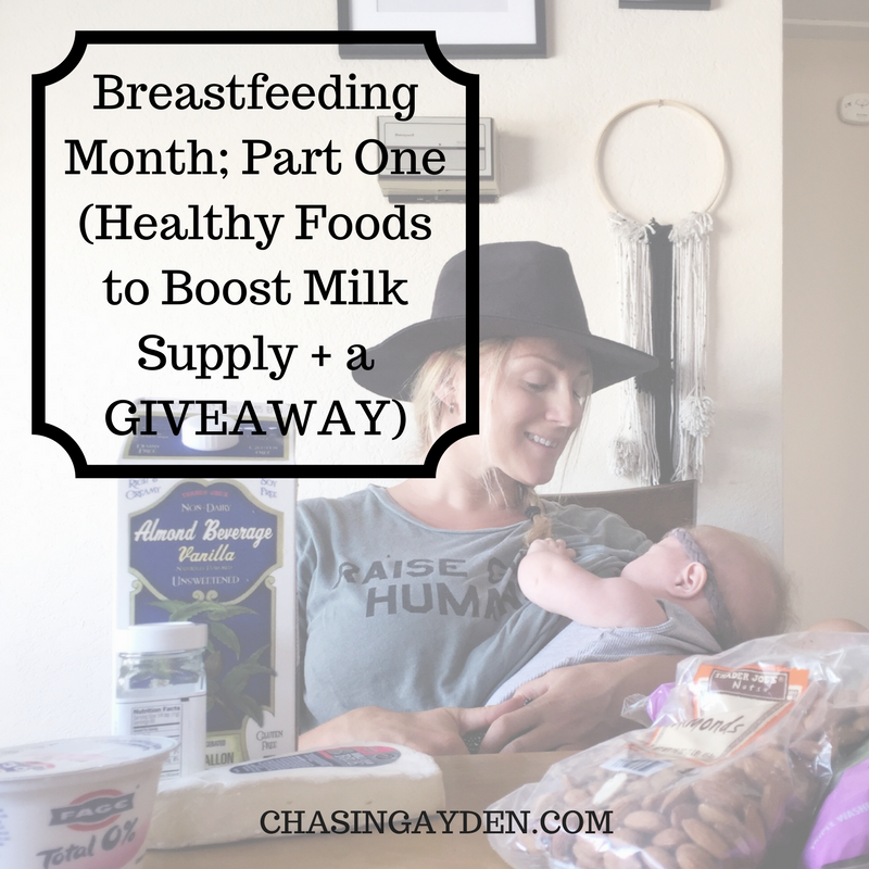 National Breastfeeding Awareness Month: Healthy Foods to BOOST Your Milk Supply + A GIVEAWAY! https://chasingmcallisters.com/breastfeeding-one